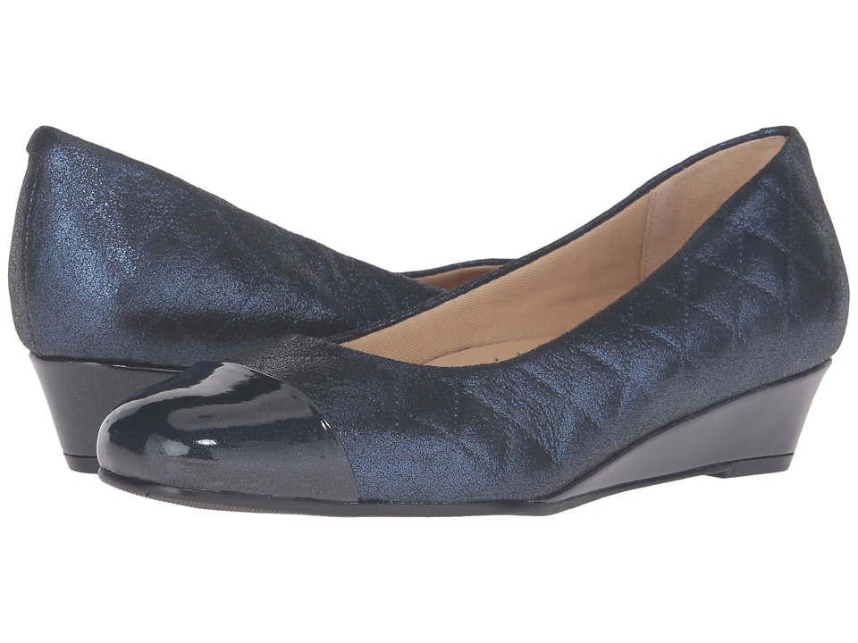 Trotters - Langley (Navy Quilted/Pearlized Patent) Women