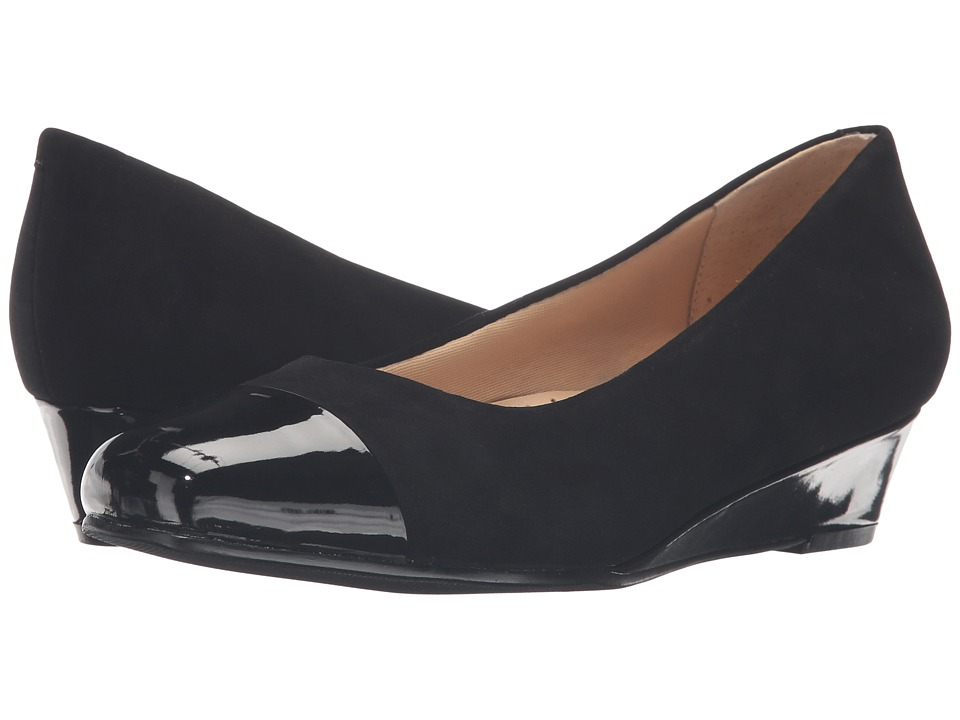 Trotters - Langley (Black Kid Suede Leather/Patent) Women