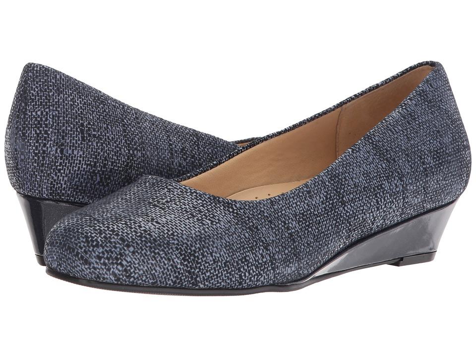 Trotters - Lauren (Navy Textured Leather) Women