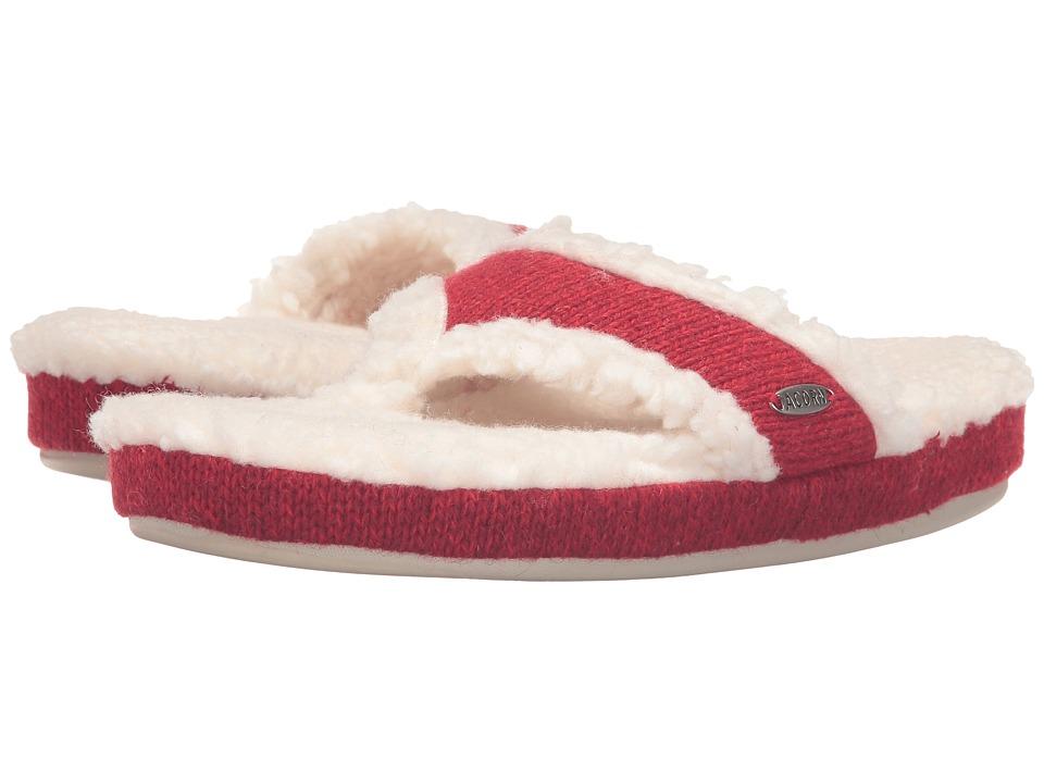 Acorn Thong Ragg (Red Ragg Wool) Slippers