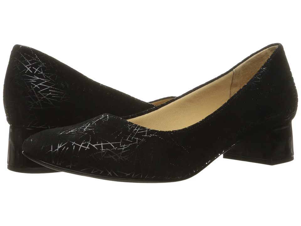 Trotters - Lola (Black Graphic Embossed Leather) Women