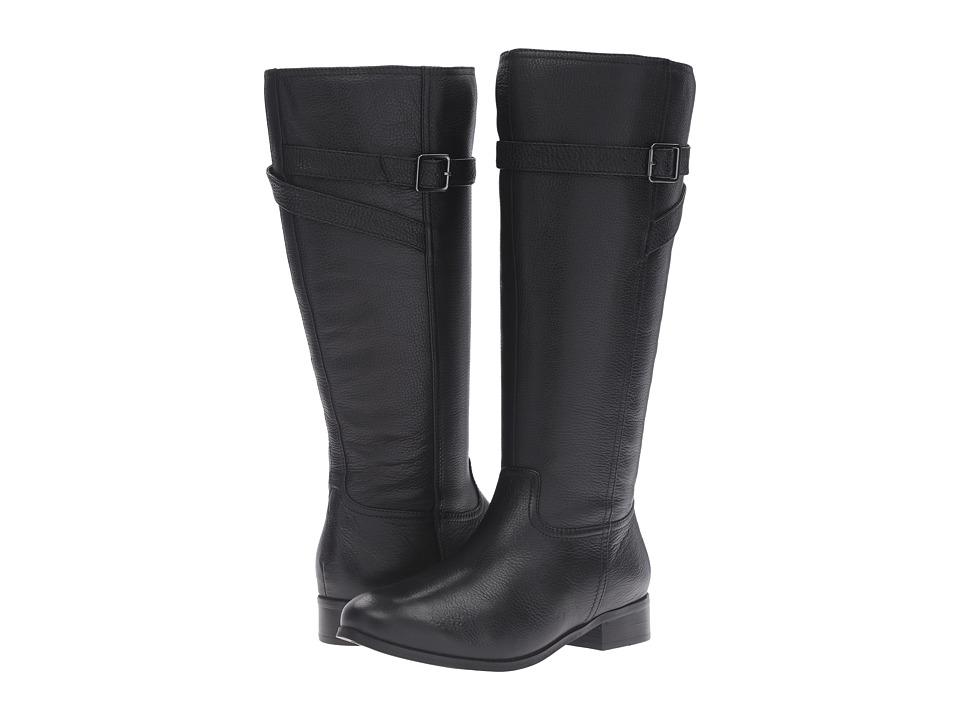 Trotters Lyra Wide Calf (Black Veg Tumbled Leather) Women...