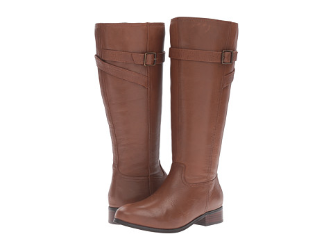 Trotters Lyra Wide Calf - Cognac Veg Tumbled Leather