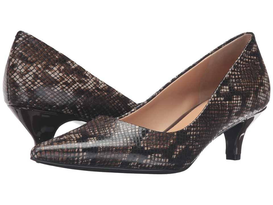 Retro Vintage Style Wide Shoes Trotters - Paulina Brown Printed Python Leather Womens 1-2 inch heel Shoes $109.95 AT vintagedancer.com