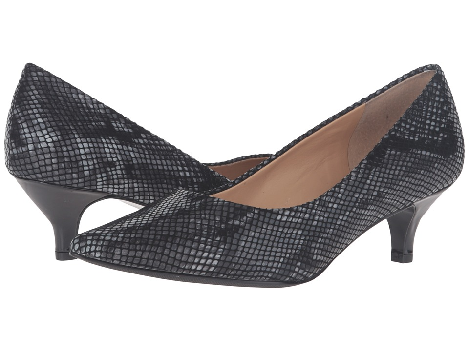 Retro Vintage Style Wide Shoes Trotters - Paulina Black Printed Python Leather Womens 1-2 inch heel Shoes $109.95 AT vintagedancer.com