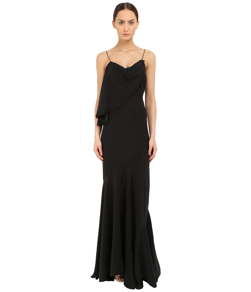 Zac Posen Spaghetti Strap Flutter Gown Black Womens Dress