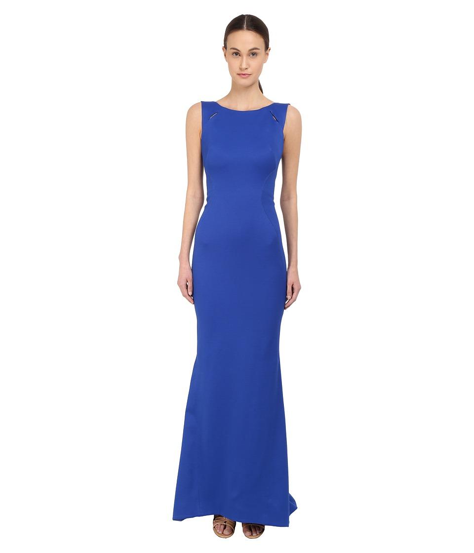 Zac Posen Sleeveless Boat Neck Gown Royal Blue Womens Dress