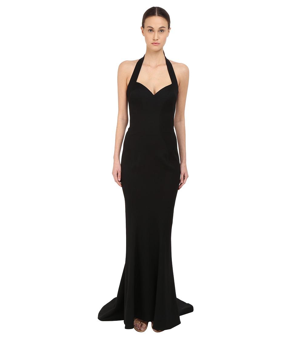 Zac Posen Halter Strap Gown Black Womens Dress