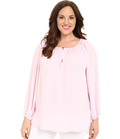 Vince Camuto Specialty Size - Plus Size Long Sleeve Shirred Neck Peasant Blouse