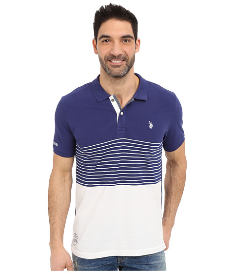 U.S. POLO ASSN. Striped Color Block Polo Shirt