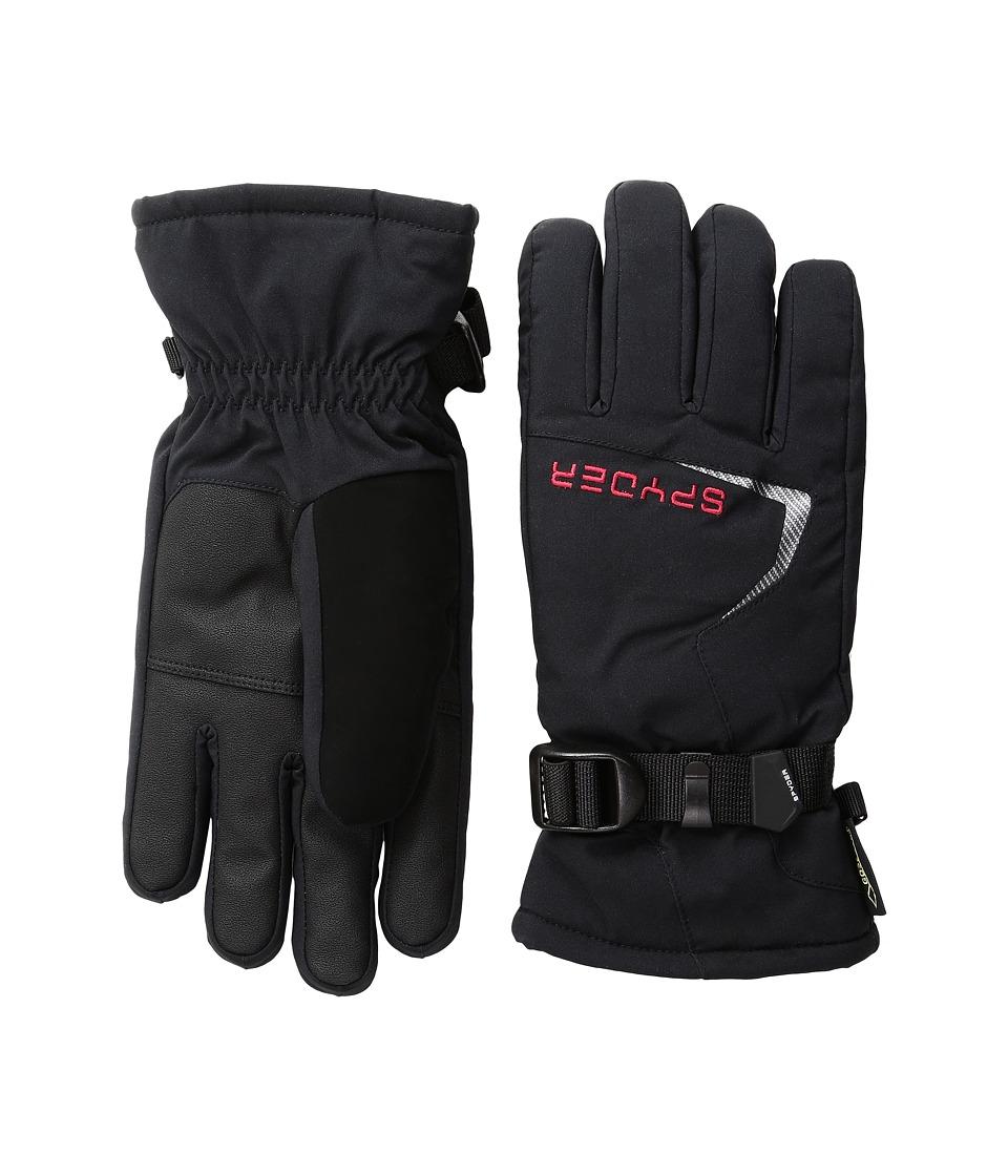 Spyder Traverse Ski Gloves (Big Kids) (Black/Red) Extreme Cold Weather Gloves