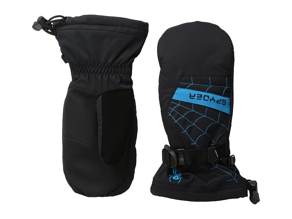 Spyder Kids Overweb Ski Mittens (Big Kids) (Black/Electric Blue) Extreme Cold Weather Gloves