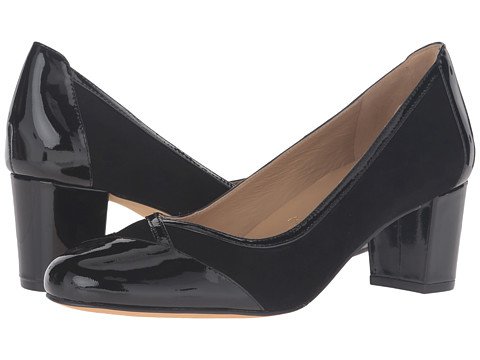 Trotters Phoebe - Black Kid Suede/Patent Leather