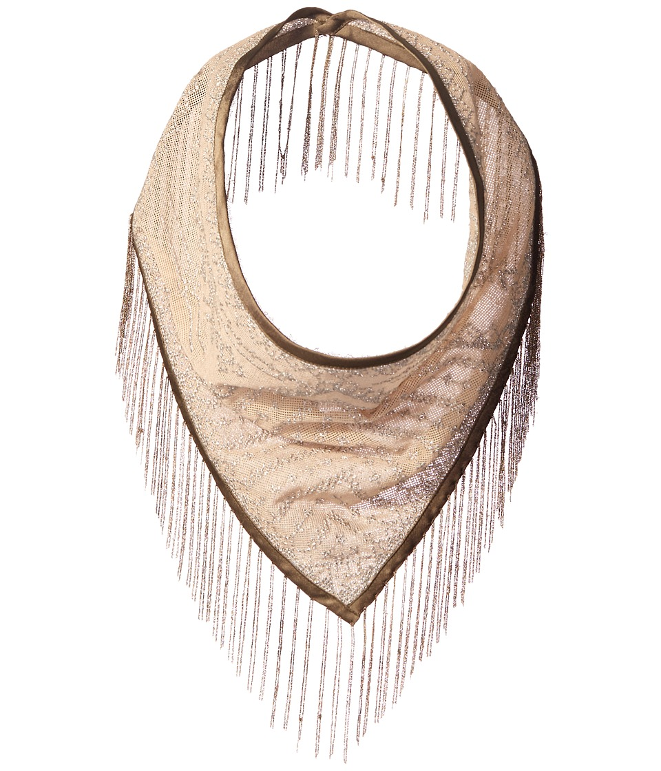 Steve Madden Metal Fringe Triangle Neckerchief Silver Scarves