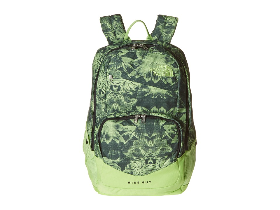 The North Face Wise Guy Backpack Dark Cedar Green Palm Print Backpack Bags