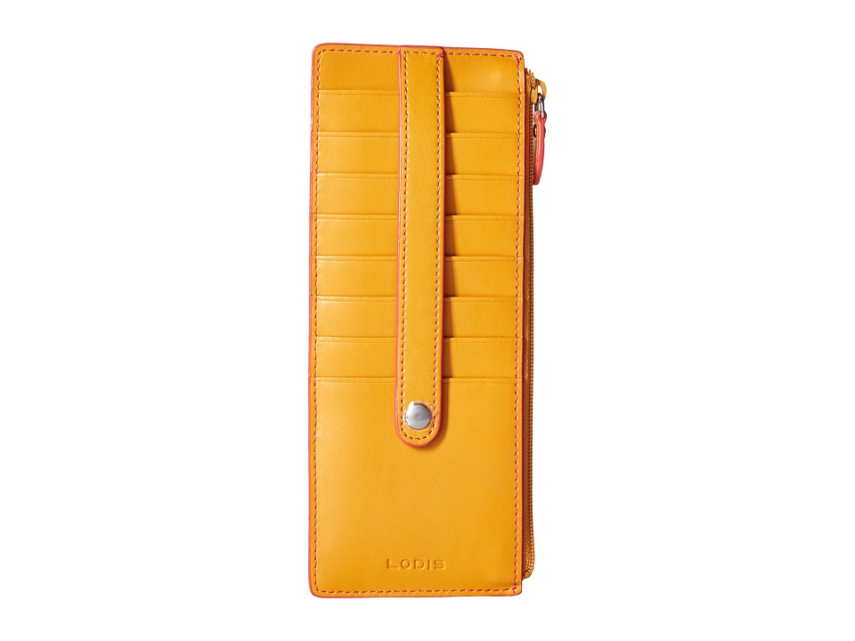 Lodis Accessories - Audrey Credit Card Case with Zipper Pocket (Maize/Coral) Credit card Wallet