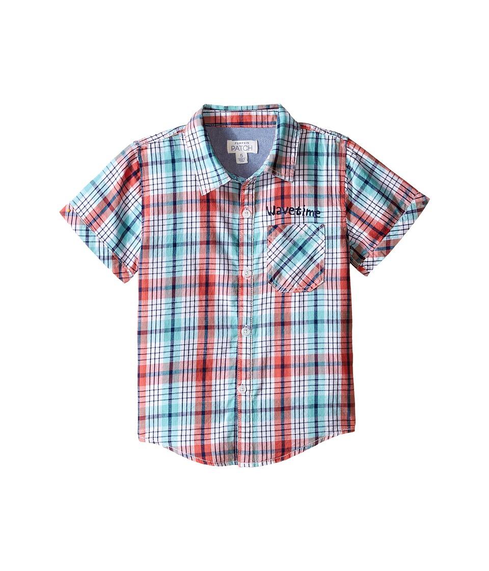 Pumpkin Patch Kids Checked Slub Shirt Infant/Toddler/Little Kids Sunset Orange Boys Short Sleeve Button Up
