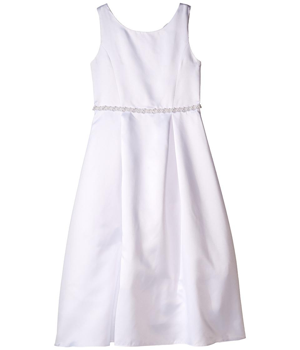 Us Angels Organza Sleeveless A Line Dress w/ Beaded Trim Little Kids/Big Kids White Girls Dress