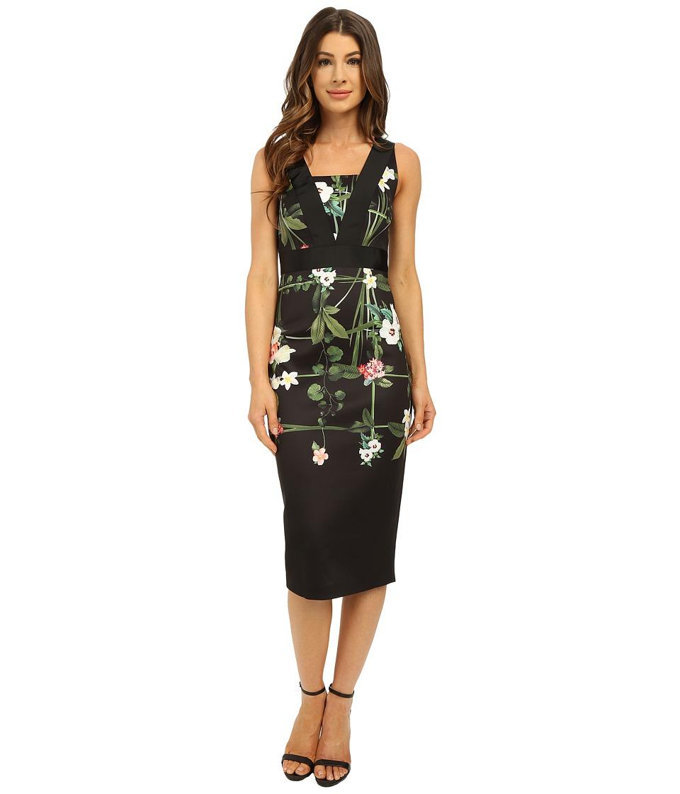 Ted Baker Kacied Secret Trellis Strap Detail Dress Black Womens Dress