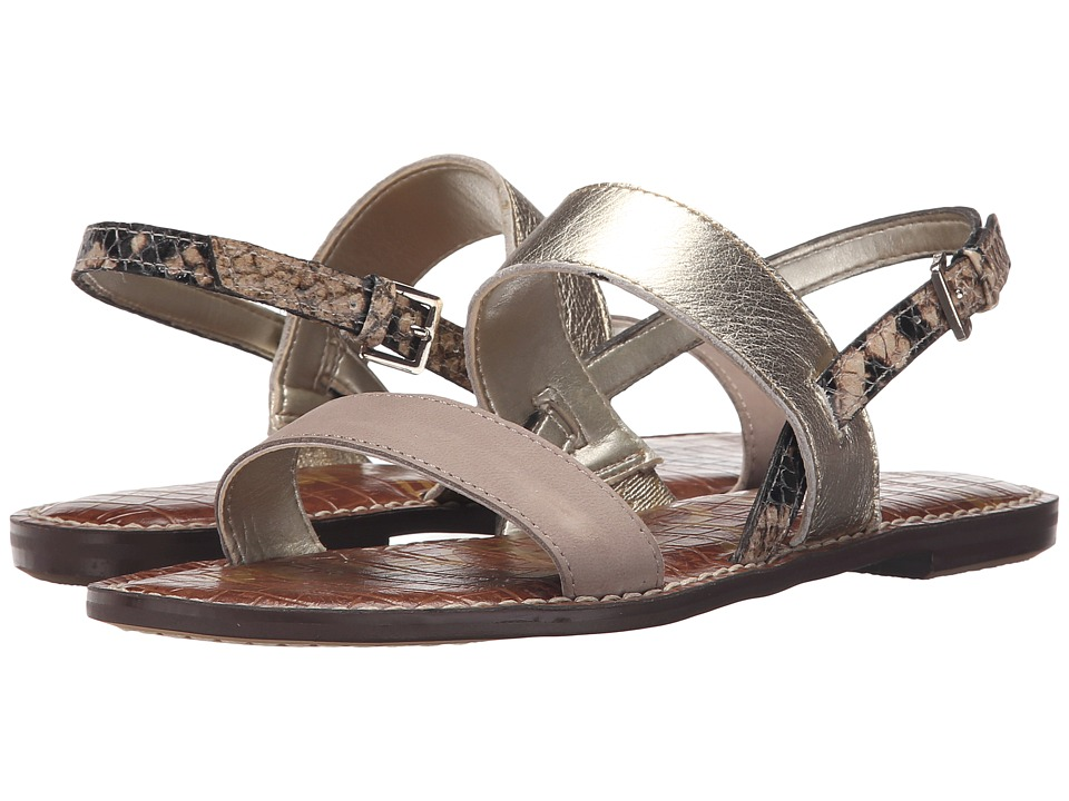 Sam Edelman Georgiana Putty/Jute/Natural Wayne Nubyck Leather/Tumbled Opal Metallic Le Womens Sandals