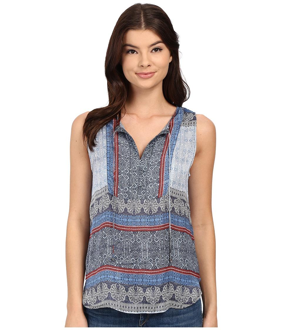 Gypsy05 Sleeveless Button Bib Shirttail Tank Top Cobalt Womens Sleeveless