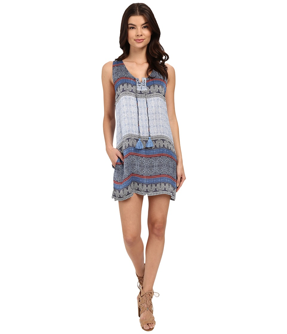 Gypsy05 Grommet Lace Mini Tank Top Cobalt Womens Sleeveless