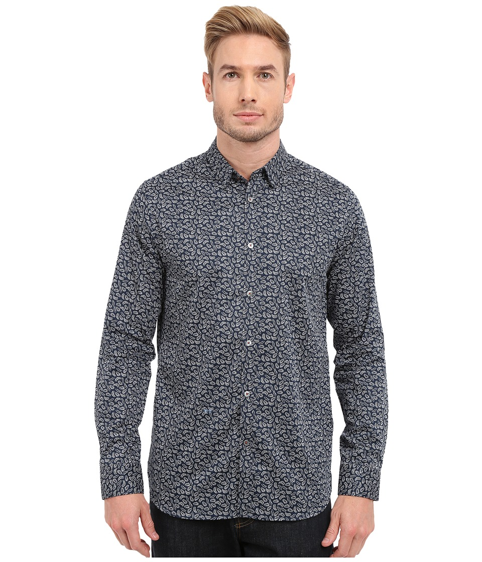 Ted Baker Jazflut Long Sleeve Leaf Print Shirt Navy Mens Long Sleeve Button Up