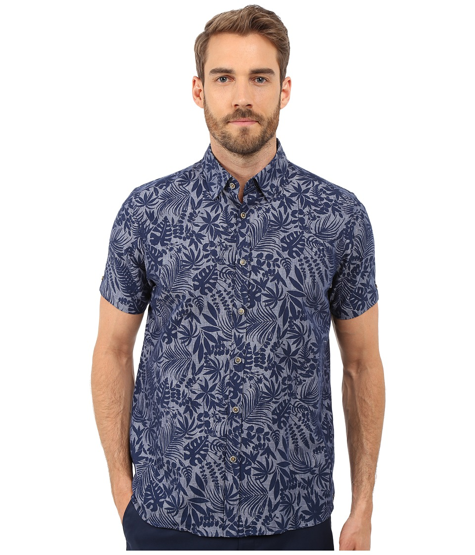 Ted Baker Subzero Short Sleeve Large Floral Linen Shirt Navy Mens Short Sleeve Button Up