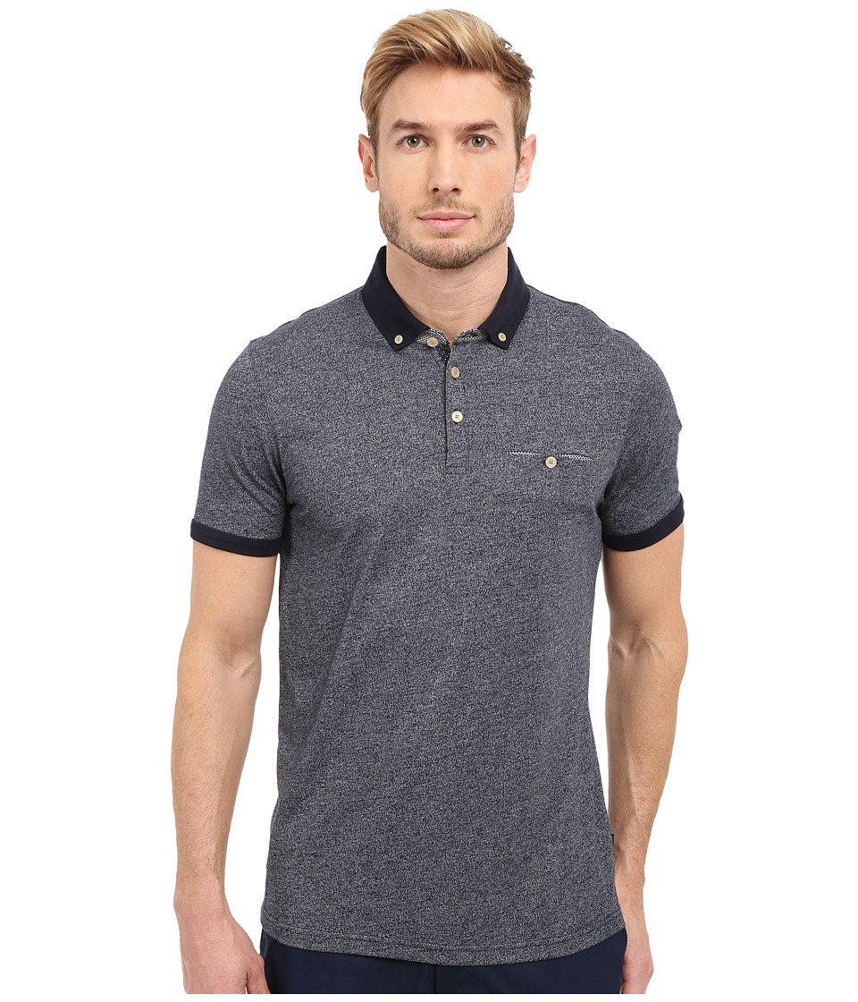 Ted Baker Gangnam Rolled Cuff Short Sleeve Polo Navy Mens Short Sleeve Pullover