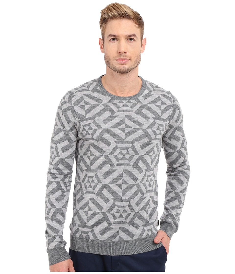 Ted Baker Jakgee All Over Jacquard Long Sleeve Crew Neck Grey Marl Mens Sweater