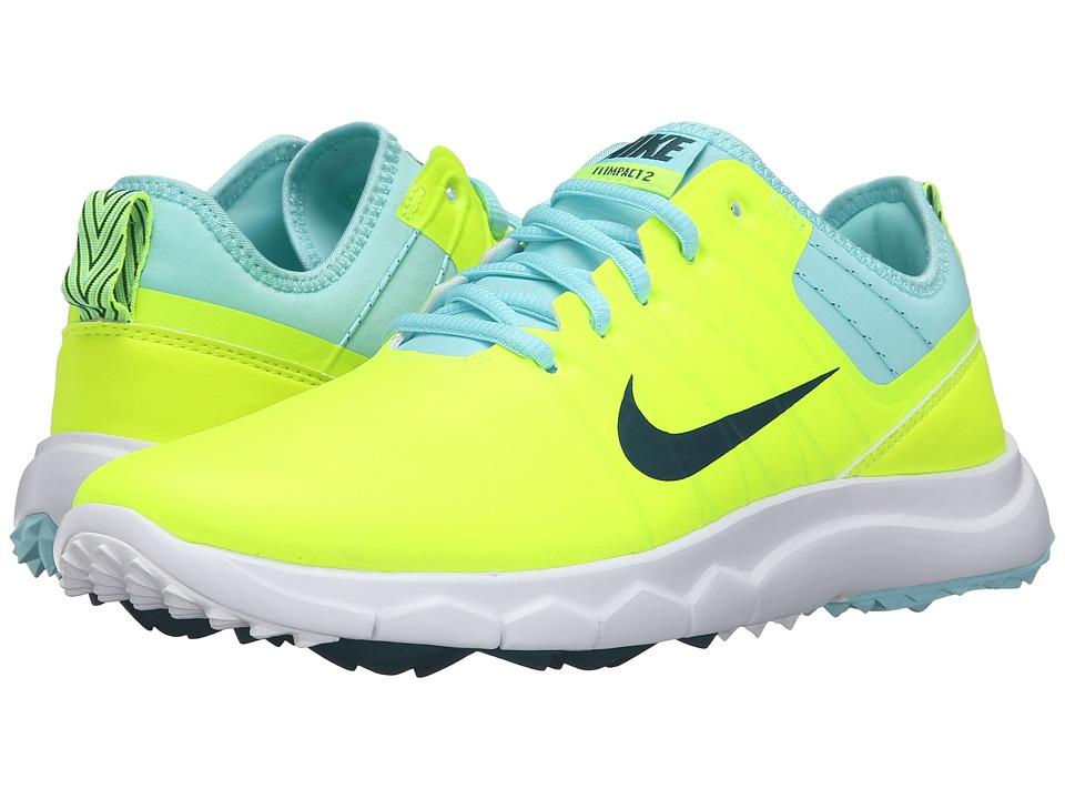 Nike Golf FI Impact 2 (Volt/Rio Teal/Midnight Turquoise) Women