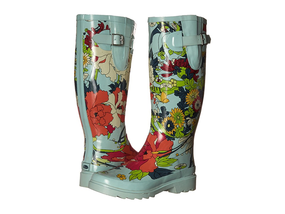 Sakroots Rhythm Seafoam Flower Power Womens Rain Boots