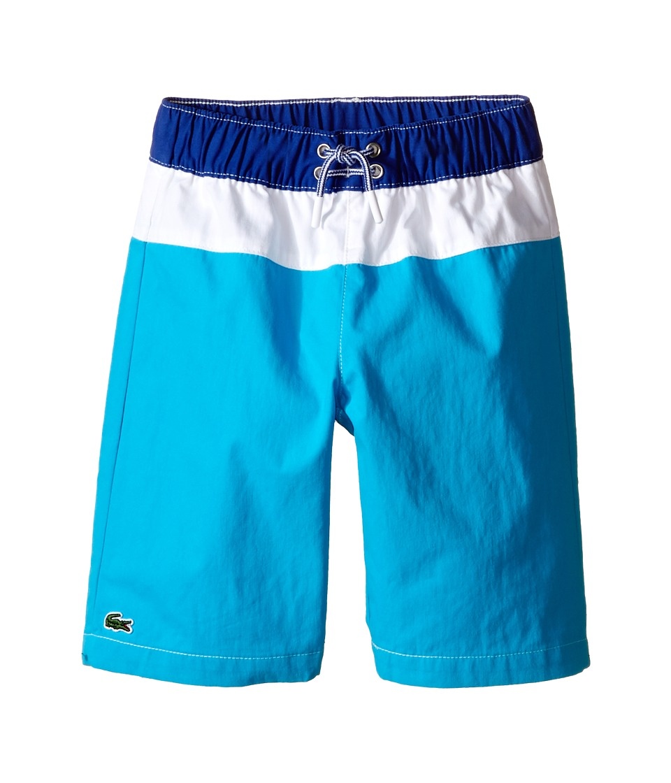 Lacoste Kids Bold Stripe Swim Trunk Little Kids/Big Kids Paradisiac Turquoise/White Explorer Blue Boys Swimwear