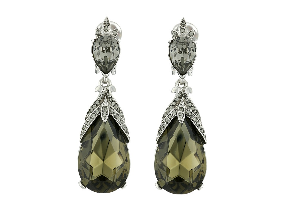 Oscar de la Renta Bold Teardrop C Earrings Black Diamond Earring