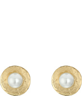 Oscar de la Renta - Pearl Gold Disc Button P Earrings