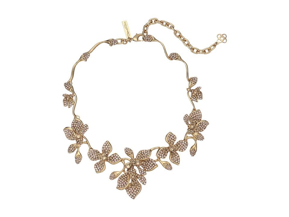 Oscar de la Renta Gradient Crystal Flower Necklace CRY GOLD Necklace