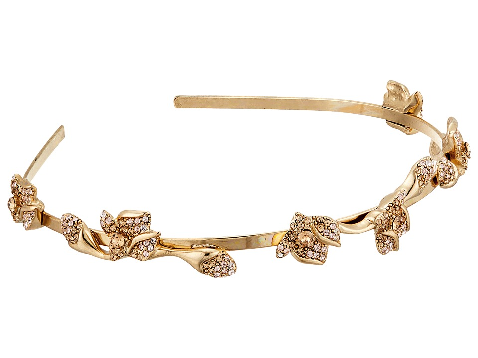 Oscar de la Renta Gradient Crystal Flower Headband Cry Gold Shadow Headband