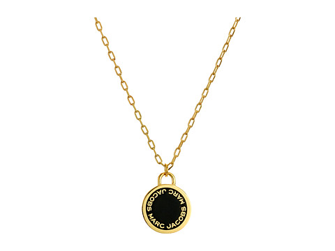 Marc Jacobs Logo Disc Enamel Logo Disc Pendant Necklace - Black/Oro