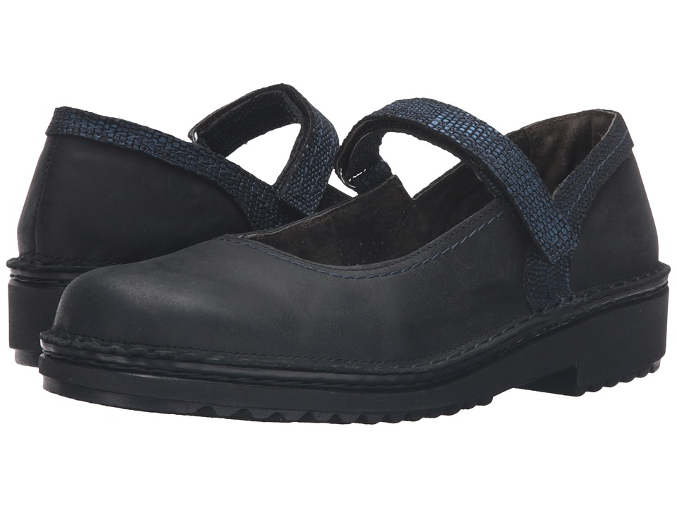 Naot Footwear Hilda (Oily Coal Nubuck/Navy Reptile Leather) Women