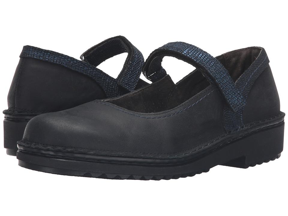 Naot Footwear - Hilda (Oily Coal Nubuck/Navy Reptile Leather) Women