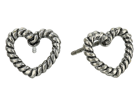 Marc Jacobs Rope Hearts Studs Earrings - Antique Silver