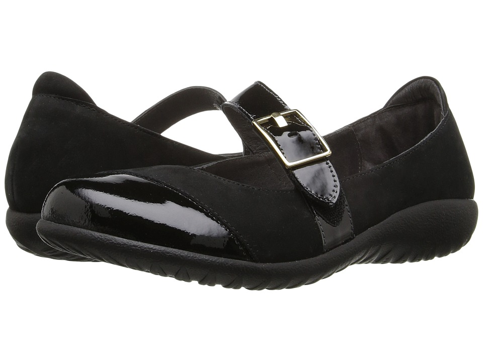 Naot Kihi (Black Velvet Nubuck/Black Patent Leather) Wome...