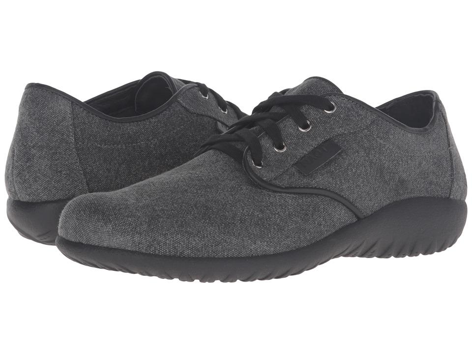 Naot Tiaki (Gray Canvas/Black Raven Leather Trim) Sandals