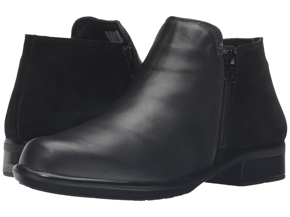 Naot Footwear Helm (Black Raven Leather/Black Suede) Women