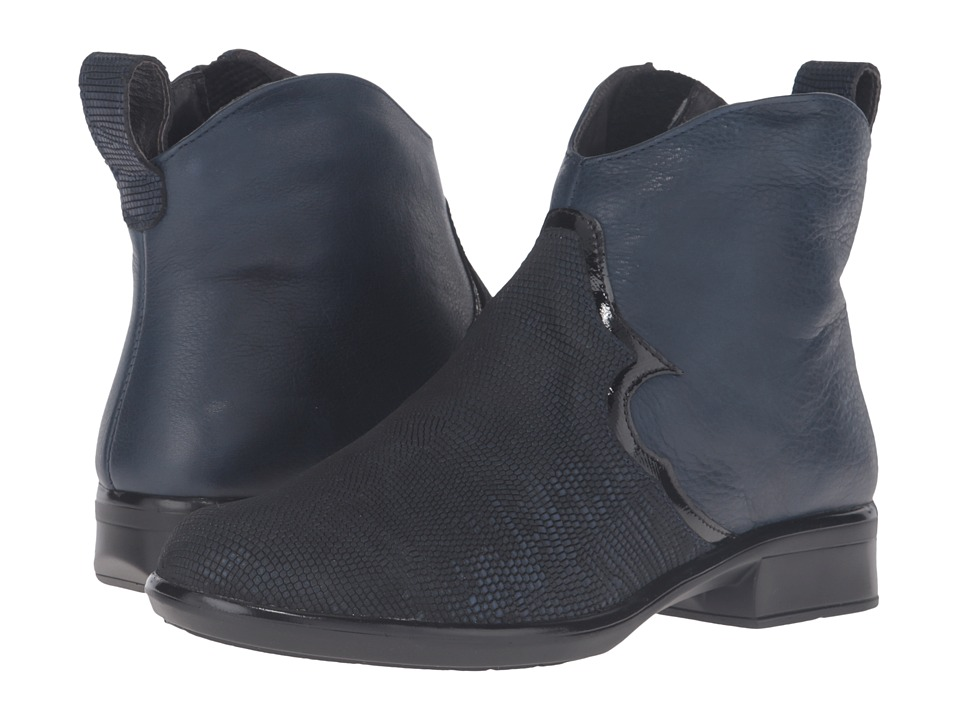 Naot Footwear Sirocco (Navy Reptile Leather/Ink Leather/Black Luster Leather) Women