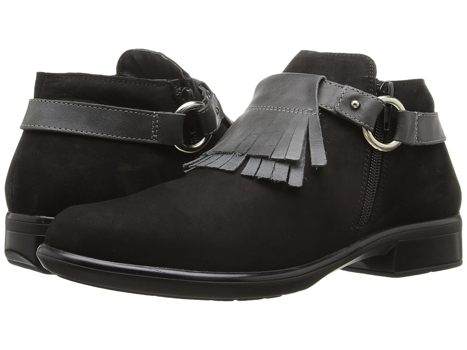 Naot Footwear Meltemi (Black Velvet Nubuck/Tin Gray Leather) Women