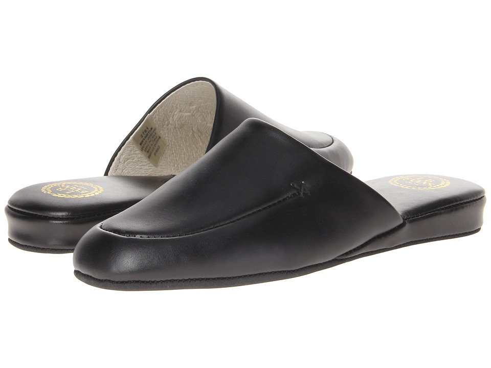 L.B. Evans Duke Scuff Black Leather Mens Slippers