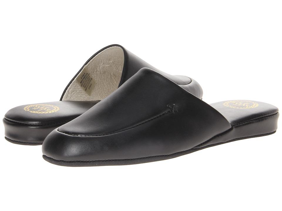 L.B. Evans Duke Scuff Black Leather Mens Slippers