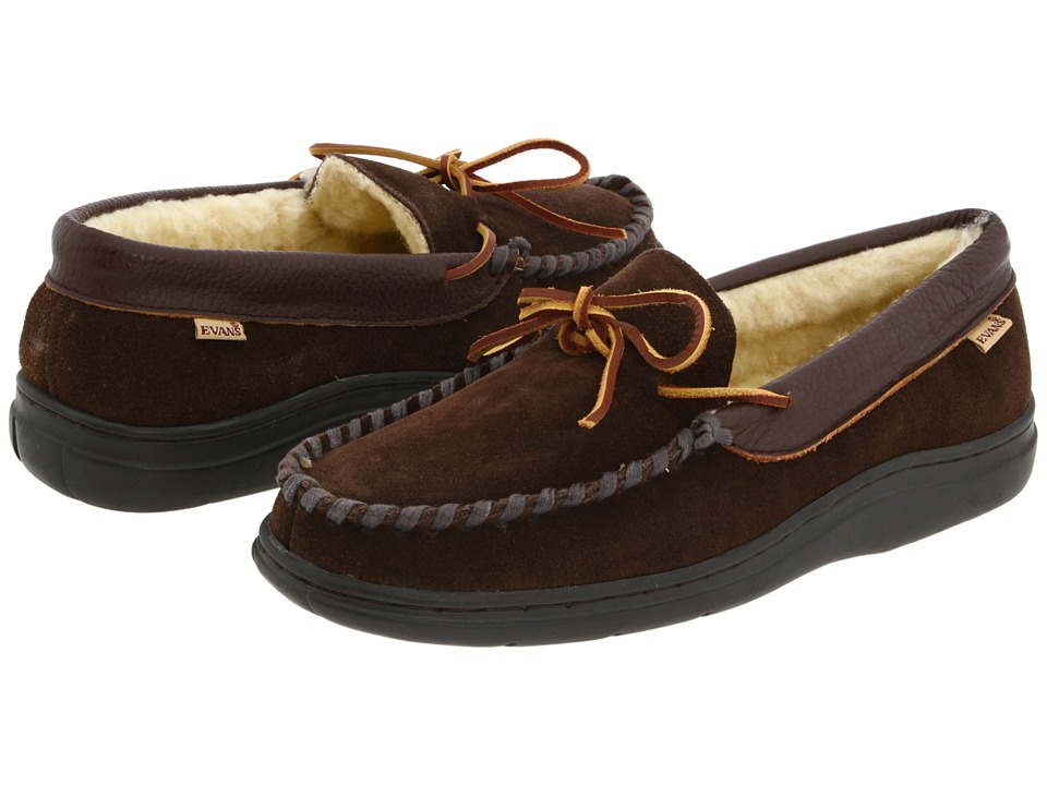 L.B. Evans Atlin Chocolate Suede W/Sherpa Lining Mens Slippers