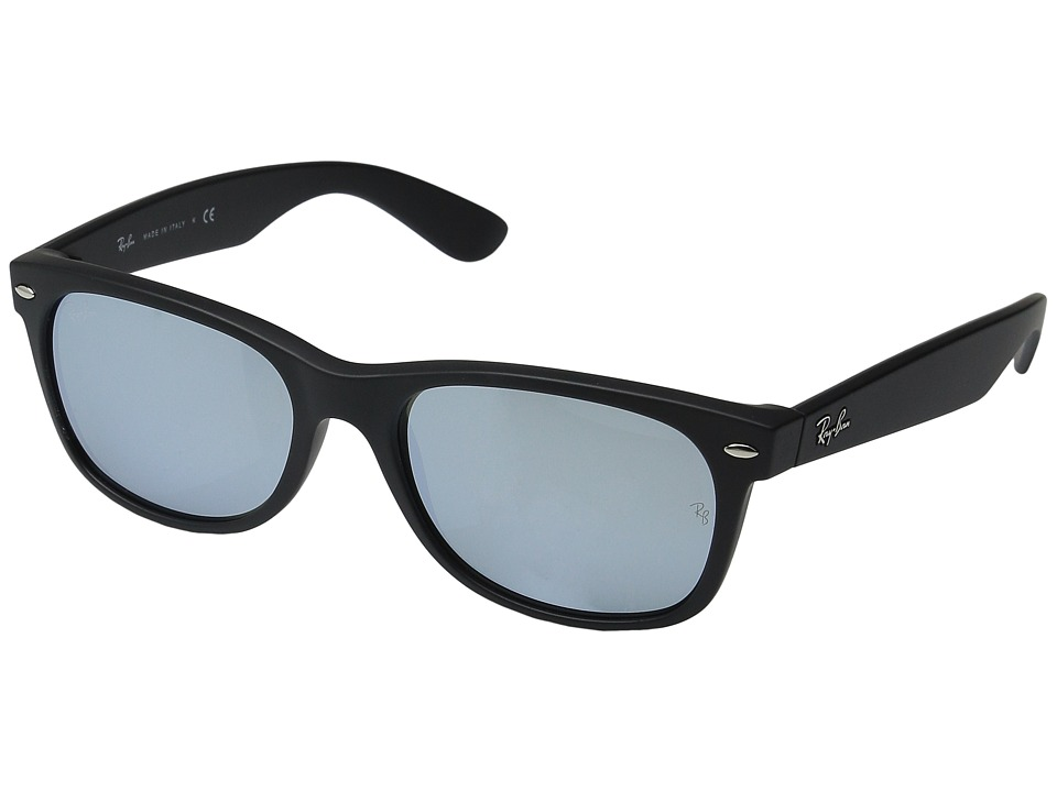 Ray-Ban RB2132 New Wayfarer 55mm (Rubber Black Frame/Light Green Mirror Silver Lens) Fashion Sunglasses